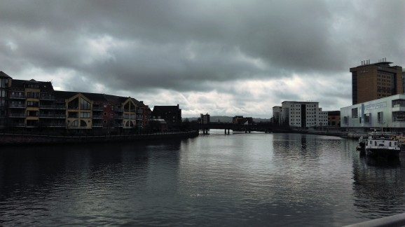 Moody sky over the River Lagan