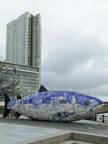 The Big Fish with the Obel Tower in the background